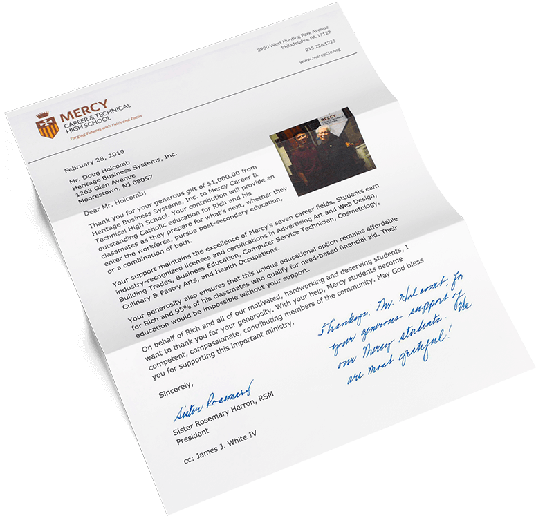 """A """"thank you"""" letter from Mercy Career and Technical High School in Philadelphia, Pennsylvania"""