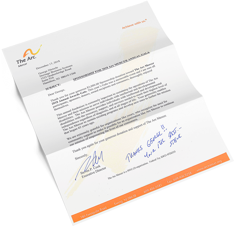 """A """"thank you"""" letter from The Arc Mercer in Ewing Township, New Jersey"""